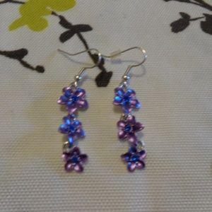 Purple Flowers Dangling Earrings